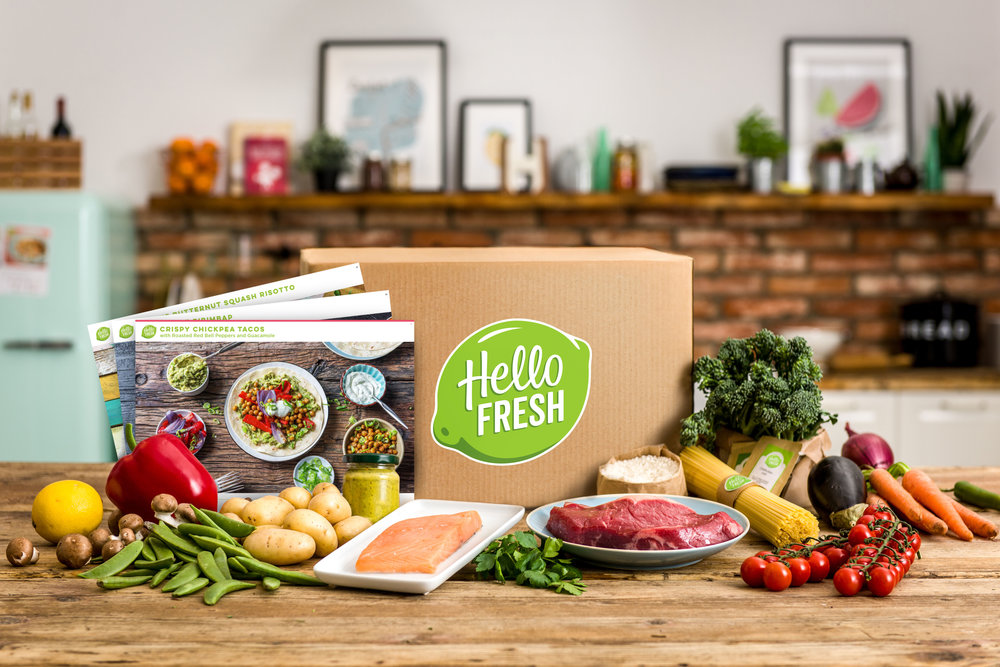 Image of Hello Fresh meal kit box and contents