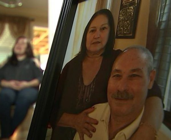Yessenia's parents in a photo as she talks with WSOCTV9 about Hurricane Maria