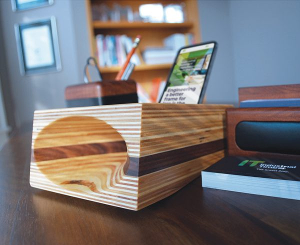 Industrial Timber direct mail marketing acoustic phone speaker dimensional mailer